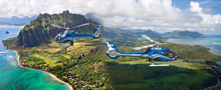 Blue Hawaiian Helicopters - Hawaii Discount FREE Get Deal Blue Hawaiian Helicopters Blue Hawaiian is the only helicopter tour company serving all four major Hawaiian islands of Oahu, Maui, Kauai and the Big Island. They have recently introduced the new ECB4 ECO-Star, which is one of the best modern touring helicopters.